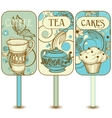 Coffee tea cupcakes labels vector image