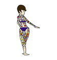 comic cartoon bikini girl covered in tattoos vector image vector image