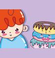 cute boy cartoons vector image