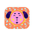 cute cartoon happy animal sticker smiling dog in vector image vector image