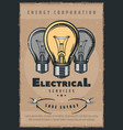 electrical services bulbs electricity retro poster vector image vector image