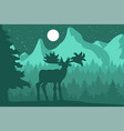 elk in the night coniferous forest near the vector image