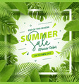 end season summer sale banner with tropical vector image