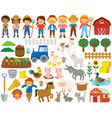 farm life clipart set vector image