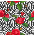 flowers and zebra skin seamless pattern animal vector image vector image