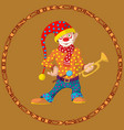 funny cartoon circus clown cheerful joyful vector image