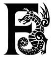 gargoyle capital letter f vector image