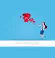 girl holding red heart shaped air balloons over vector image
