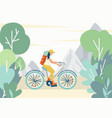 girl riding a bike with a tourist backpack in the vector image vector image