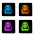 glowing neon toaster with screwdriver and wrench vector image vector image
