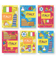italy brochure cards thin line set vector image