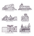 line castles and architecture fortress with tower vector image vector image