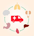 Medical scheme infographics ambulance and human vector image