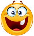 one tooth emoticon vector image vector image