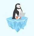 penguin with notebook on ice floe vector image vector image