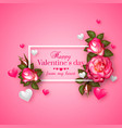realistic 3d floral valentines day background vector image