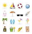 realistic summer and holiday icons vector image vector image