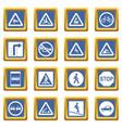road sign set icons set blue vector image