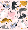 seamless childish pattern with cute girl cats vector image vector image