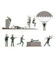set isolated soldiers doing exercises military vector image vector image
