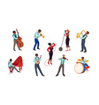 set jazz musicians and singers on stage vector image vector image