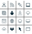 set of 16 internet icons includes human wifi vector image vector image