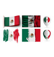 set of mexico flags collection isolated vector image