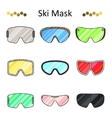 Ski goggles color line set icon vector image vector image