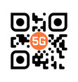 smartphone readable qr code with 5g icon vector image
