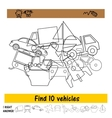 The task for the children to find ten vehicles vector image vector image