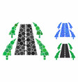 tree alley road mosaic icon spheric items vector image vector image