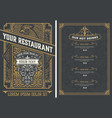 vintage restaurant menu design template vector image vector image