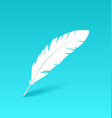 White feather isolated on blue background vector image vector image
