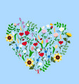 wildflowers heart on a blue background vector image