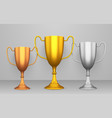 winner cups realistic set reward and achievement vector image