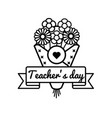 world teachers day greeting emblem vector image