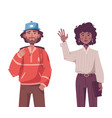 young hipster man and woman wearing trendy outfits vector image vector image