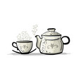 ceramic teapot with cup sketch for your design vector image