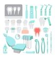 Dental care Dentist instrument tools set Teeth vector image