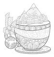 adult coloring bookpage a cute cup with a winter vector image
