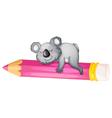 bear sleeping on pencil vector image vector image