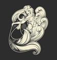 beautiful mermaid with long hair and sea waves vector image vector image