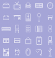 Bedroom line icons on violet background vector image vector image