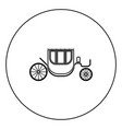 carriage black icon in circle outline vector image vector image