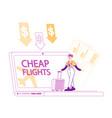 cheap flight travel budget concept tiny female vector image