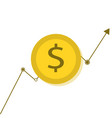 coin money icon with showing growth chart line vector image