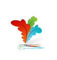 Collection colourful artistic feathers with ink vector image vector image
