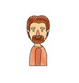 color crayon stripe caricature side view man with vector image
