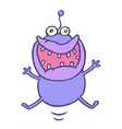 cute lucky smiling alien jumps up vector image vector image