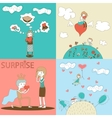 Doodle Girls and Boys Characters with Heart vector image vector image